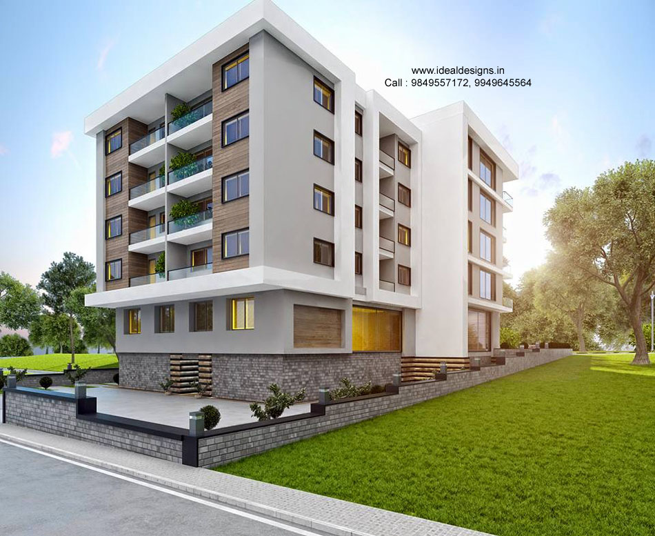 Front Elevation Of Building Part - 40: 3D Front Elevation Design Vijayawada, Hyderabad