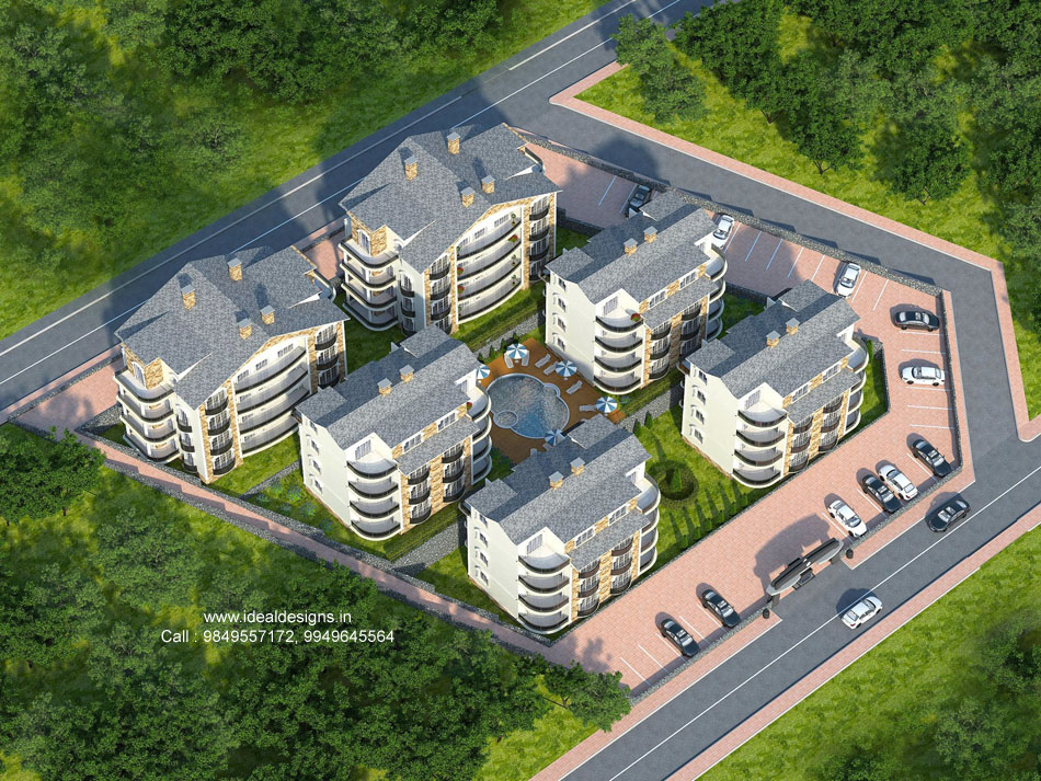 3d building aerial view design