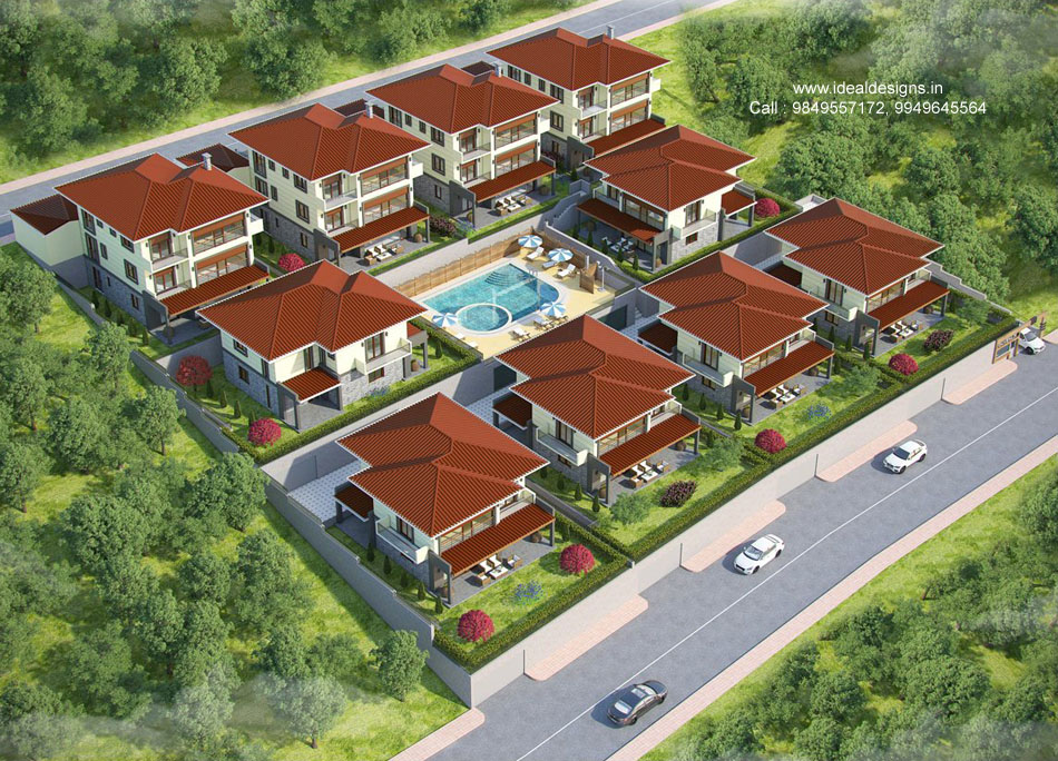 aerial view design, 3d elevation design hyderabad